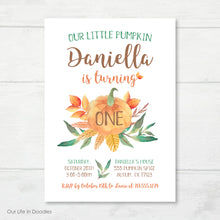 Load image into Gallery viewer, Our Little Pumpkin Invitation, Fall First Birthday Invite