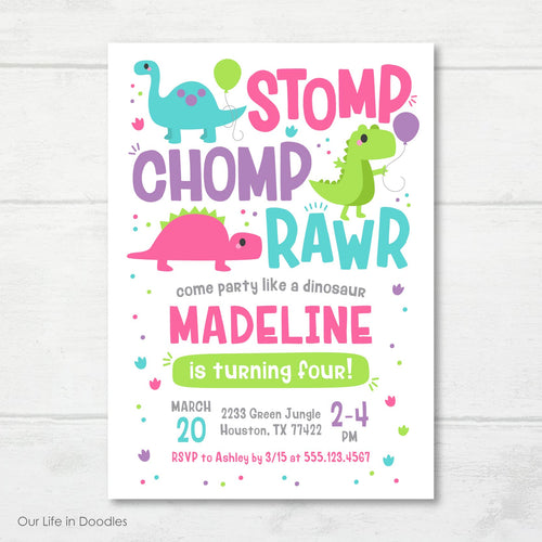 Dinosaur RAWR Invitation, T-Rex Dino Girl Birthday Invite