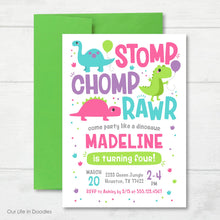 Load image into Gallery viewer, Dinosaur RAWR Invitation, T-Rex Dino Girl Birthday Invite