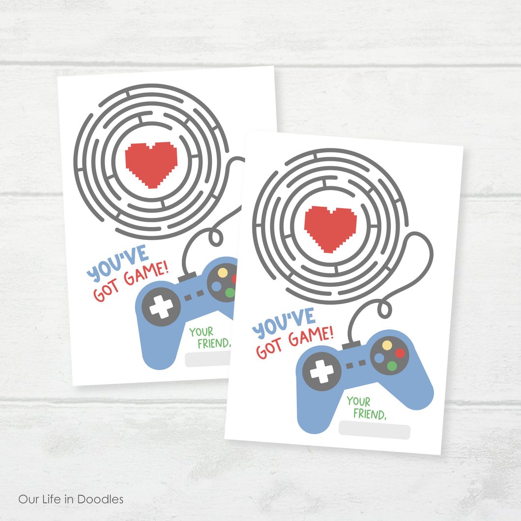 Valentines Day Card, Video Game Maze Classmates Printable