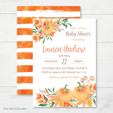 Load image into Gallery viewer, Our Little Pumpkin Invitation, Pumpkin Patch Party, Fall Baby Shower Invite