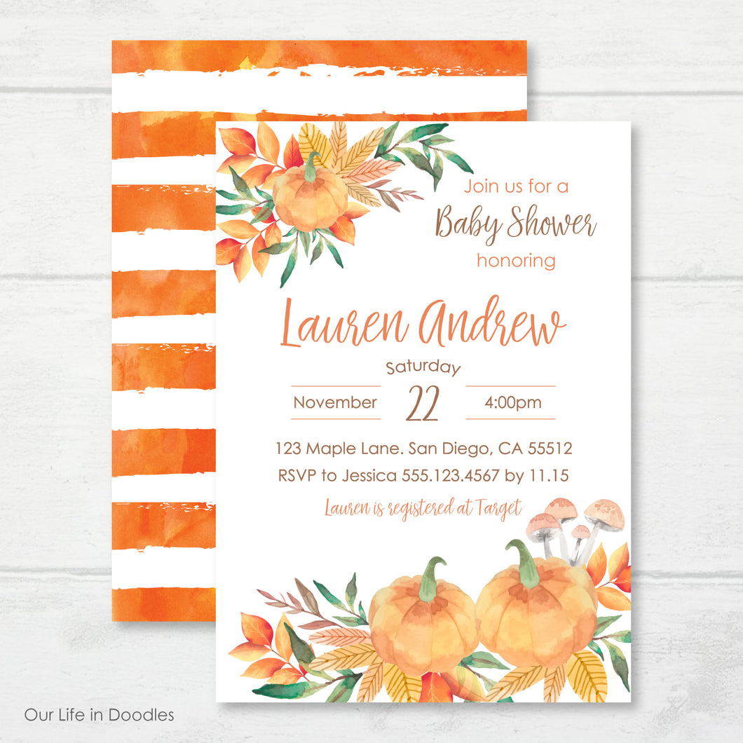 Our Little Pumpkin Invitation, Pumpkin Patch Party, Fall Baby Shower Invite