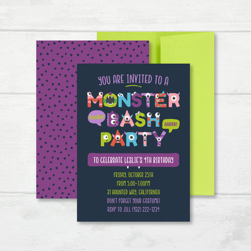 Halloween Invitation, Monster Bash Party Invite Card