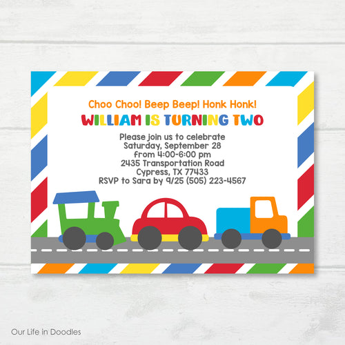 Transportation Invitation, Cars Trucks Train Birthday Party Invite