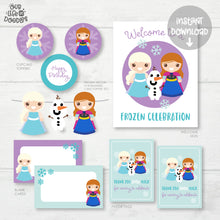 Load image into Gallery viewer, Frozen Party Decor, Elsa Anna Birthday Printable Party, Favor Tag Cupcake Topper