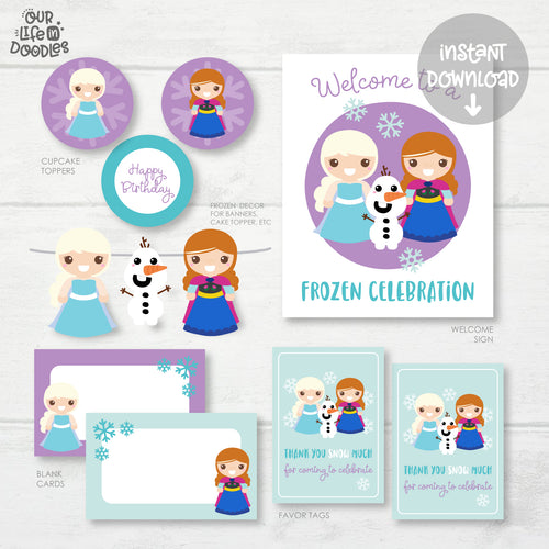 Frozen Party Decor, Elsa Anna Birthday Printable Party, Favor Tag Cupcake Topper