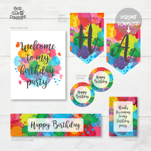Art Party Decor, Artist Paint Birthday Printable Party, Favor Tag Cupcake Topper