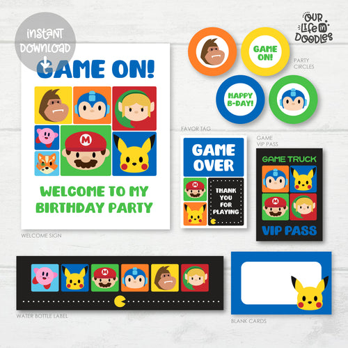 Video Game Party Decor, Game Truck Mario Birthday Printable Party