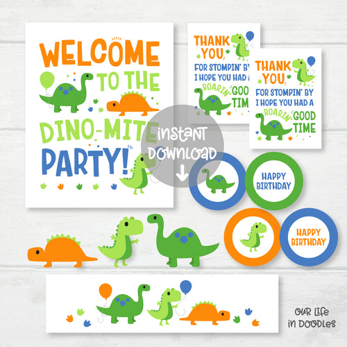 Dinosaur Party Decor, Dino T-Rex Birthday Printable Party, Favor Tag Cupcake Topper