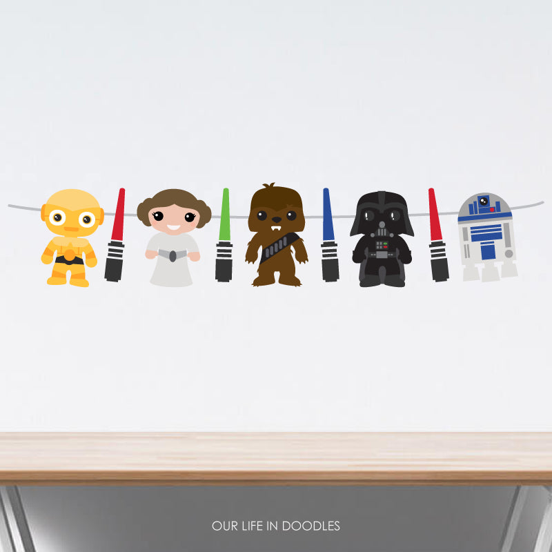 Star Wars Banner, Galaxy Party Decor Garland, Birthday Printable Party, Cake Topper