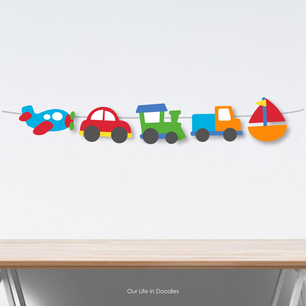 Transportation Banner, Party Decor Garland, Cars Trucks Birthday Printable Party, Cake Topper