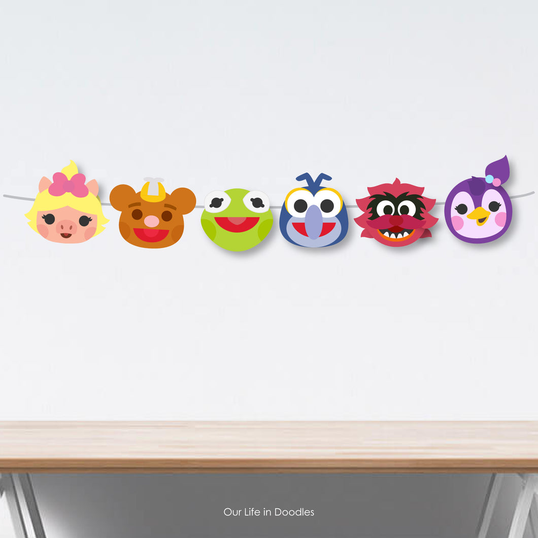 Muppet Babies Banner, Party Decor Garland, Birthday Printable Party, Cake Topper
