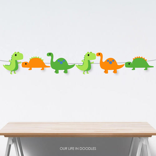 Dinosaurs Banner, Dino T-Rex Party Decor Garland, Birthday Printable Party, Cake Topper