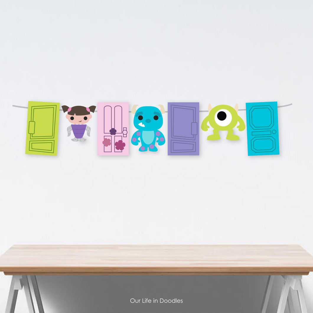 Monsters Inc Banner, Mike, Sully, Boo Party Decor Garland, Birthday Printable Party, Cake Topper
