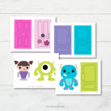 Load image into Gallery viewer, Monsters Inc Banner, Mike, Sully, Boo Party Decor Garland, Birthday Printable Party, Cake Topper