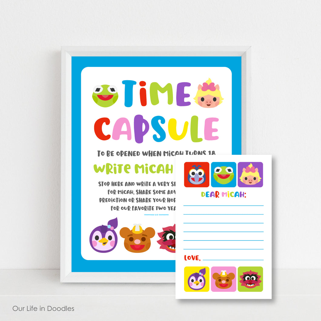 Muppet Babies Time Capsule Sign & Time Capsule Cards, First Birthday Party, Printable Party Decor