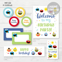 Load image into Gallery viewer, Sesame Street Party Decor, Elmo Cookie Monster Birthday Printable Party