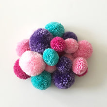 Load image into Gallery viewer, Pom Pom Garland, Yarn Pinks Purple, Party and Room Decor