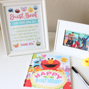 Sesame Street Guest Sign Book, First and Second Birthday Poster, Printable Kids Party Decor