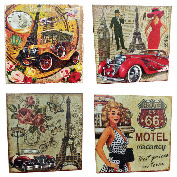 VIN UVP 21 8x8 Inch Pack of 4 Design Snoogg Art Vintage CollectionGessoo Texture.