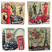 VIN UVP 23 8x8 Inch Pack of 4 Design Snoogg Art Vintage CollectionGessoo Texture.