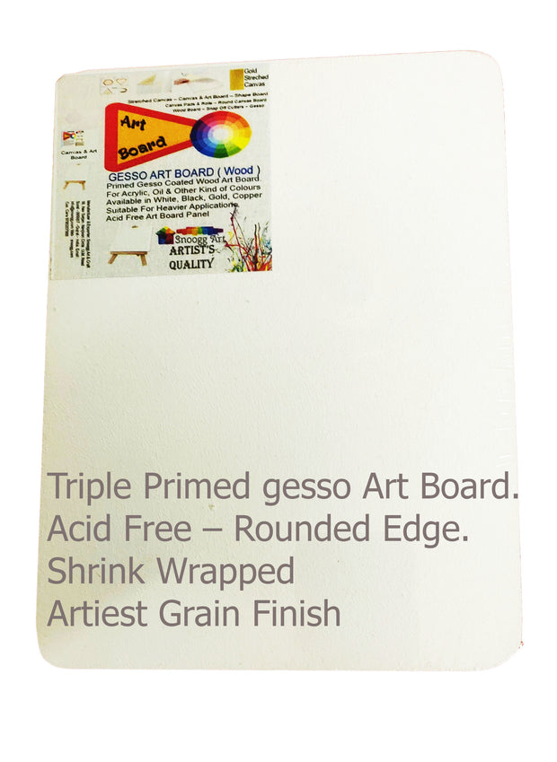 Art Board Double Primed on Wood  Acid free Hand created Grain . Rounded Edge