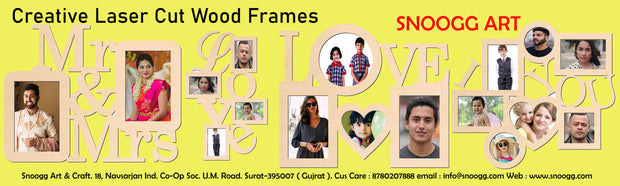 PFRM LOVE Snoogg Family Picture Frame 100% Wood & Designer piece. Laser cut . Size approx. 10 Inch
