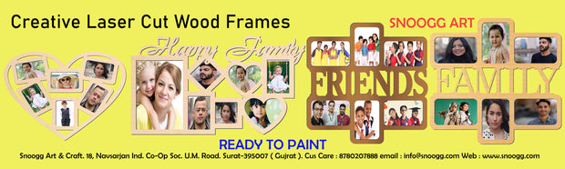 PFRM I LOVE YOU Snoogg Family Picture Frame 100% Wood & Designer piece. Laser. Size approx. 10 Inch