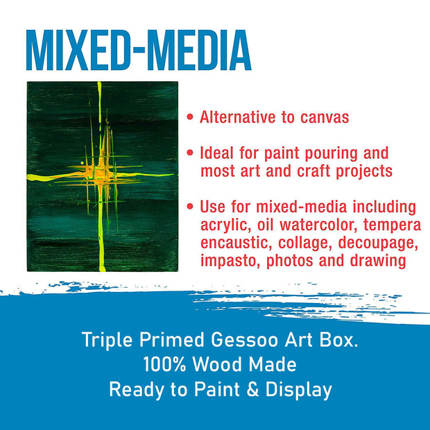 G Box Size : 16x16 inch. Double Primed Gessoo on Wood Panel.    Great Alternative to Canvas Panels.