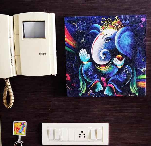 "UVP 237 12x12 & 16x16 Snoogg Art 'Lord Ganesh "" Painting Print Art Work. For Home, Living Room"