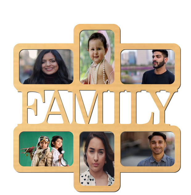 PFRM Snoogg Family Picture Frame 100% Wood & Designer piece. Laser cut . Size approx. 10 Inch