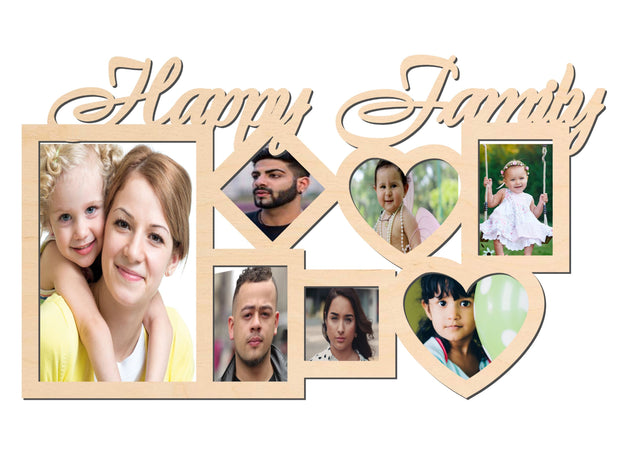 PFRM Happy Family Snoogg Family Picture Frame 100% Wood & Designer piece.. Size approx. 10 Inch