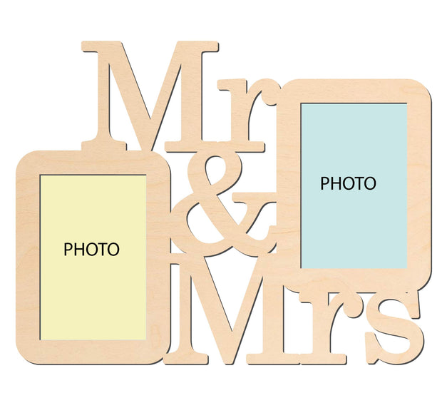 PFRM Mr. & Mrs. Snoogg Picture Frame 100% Wood & Designer piece. Laser cut . Size approx. 10 Inch