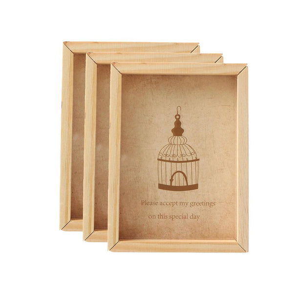 PFRM 3 pc set of 2x3, 3x4 and 4 x 5 Inch Mini solid wood Pine Wood picture / Photo frame
