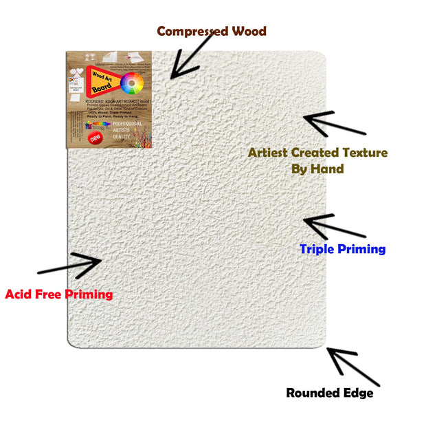 3D WAB 6x8 Inch   Snoogg Artistic grain finish Wood Art Board Triple Primed ready for Painting