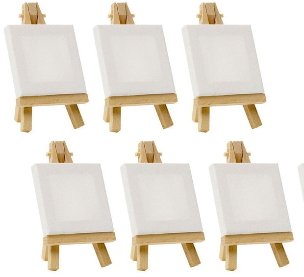 CAB-Mini 5x5 Inch With or Without Easel  - Mini Stretched Canvas Painting Double primed Canvas ,