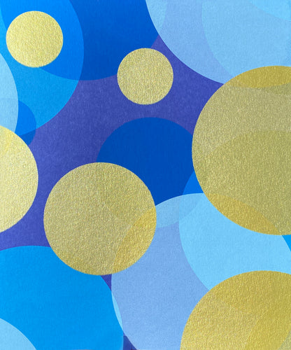 Fiona Grady 'Blue Moons' exclusive new edition using metallic gold and translucent blue inks