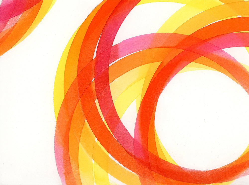 Fiona Grady 'Rainbow (red, orange, yellow) a unique watercolour inspired by the NHS Together movement to create artworks for our windows to thank carers in the UK
