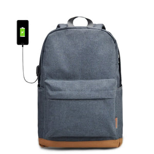 Gray Casual Rucksacks Laptop Backpacks