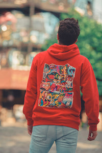 DOODLE COLLAGE Hoodie in Fire Red