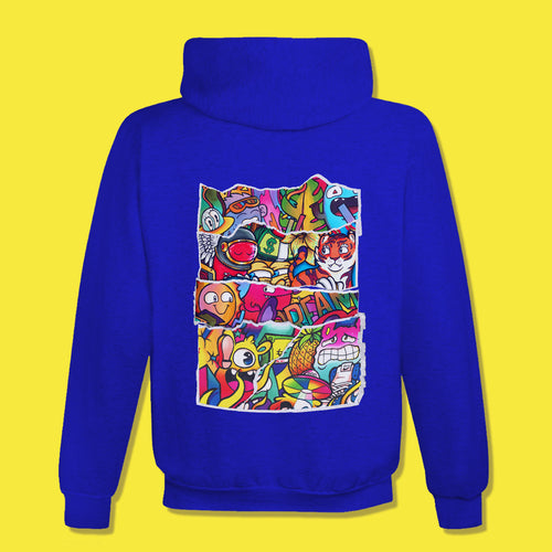 DOODLE COLLAGE Hoodie in Royal Blue