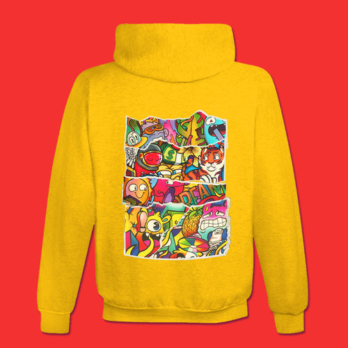 DOODLE COLLAGE Hoodie in Yellow Gold