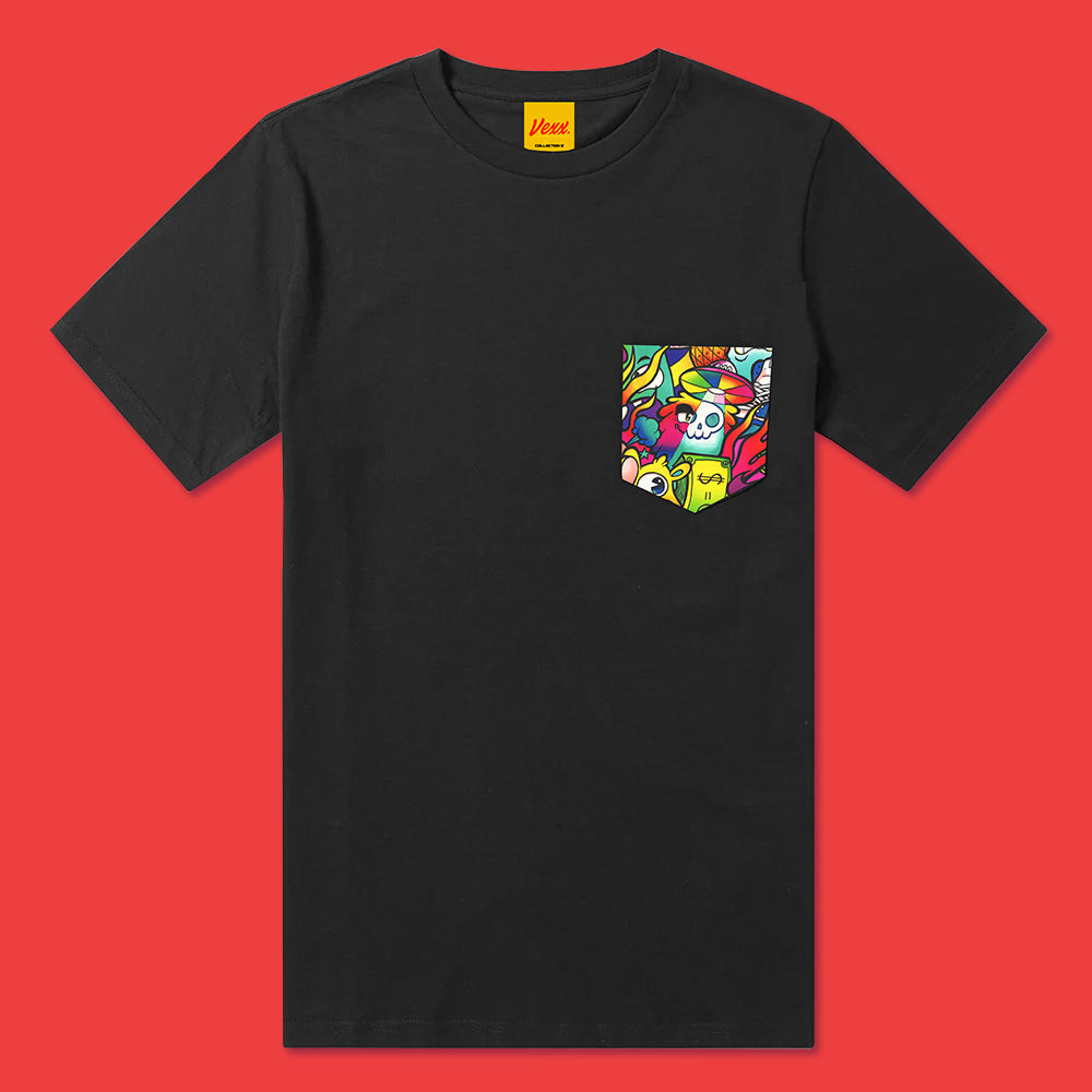 HAPPY CHAOS Pocket Tee in Black