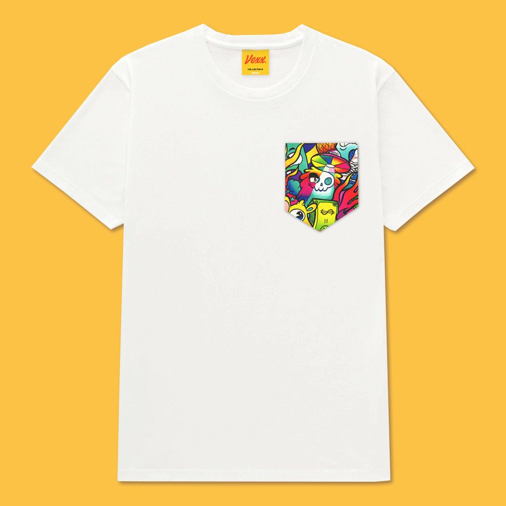 HAPPY CHAOS Pocket Tee in White