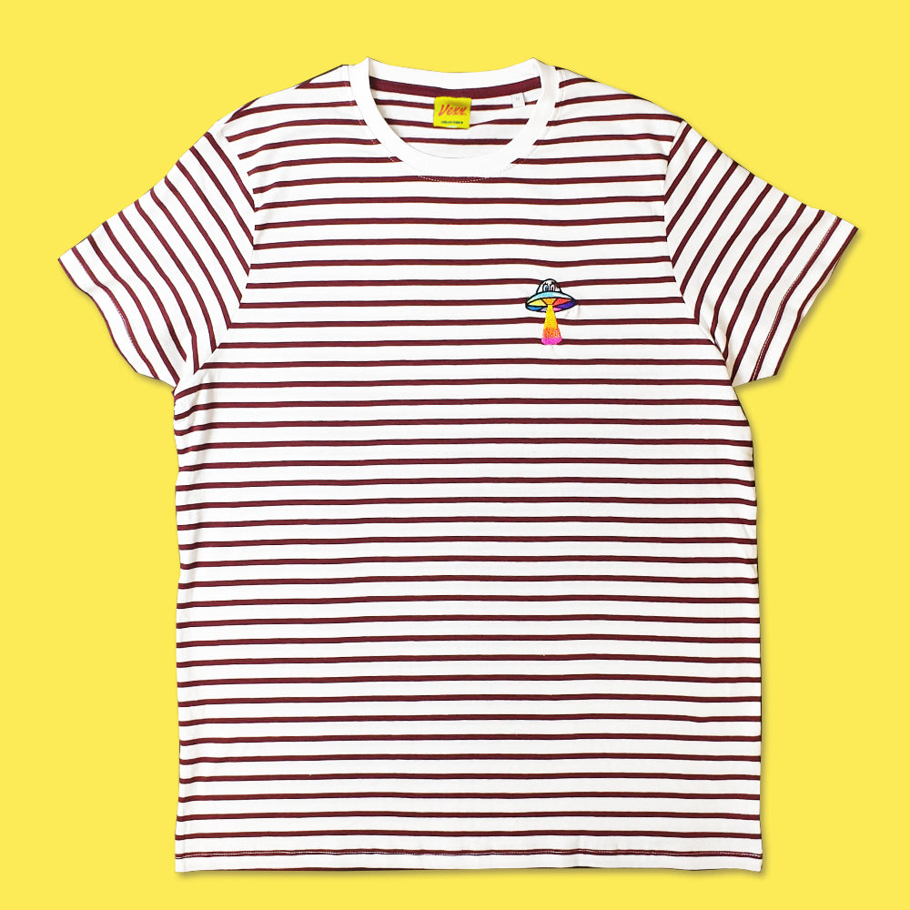 UFO Striped Tee in Burgundy