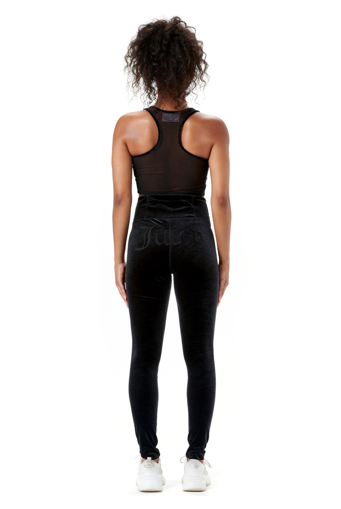 Velvet Embroidered Sports Leggings