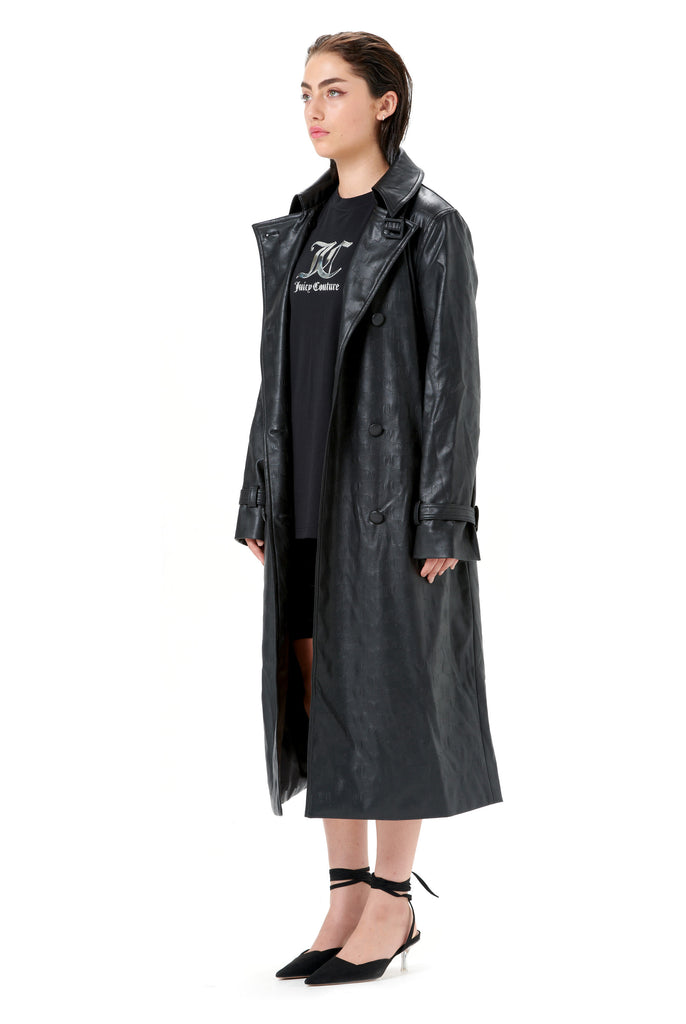 Debossed Faux Leather Trench Coat