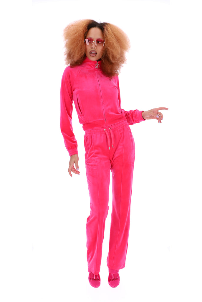 PINK GLO VELOUR DIAMANTE TRACKSUIT BOTTOM