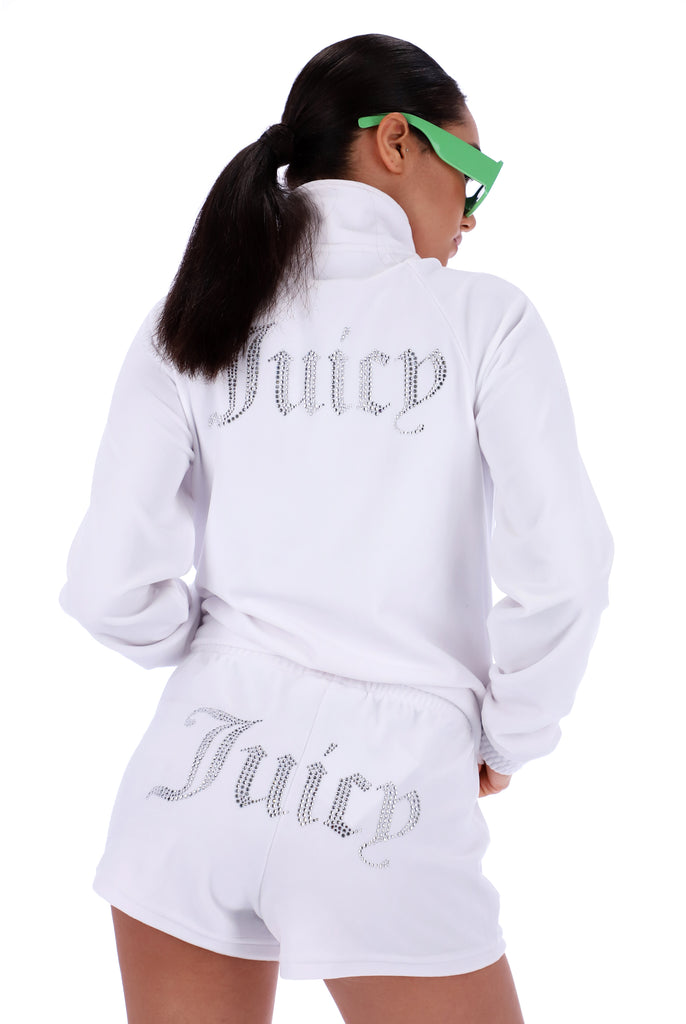WHITE VELOUR DIAMANTE TRACKTOP
