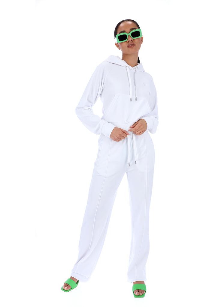 WHITE VELOUR DIAMANTE TRACKSUIT BOTTOM